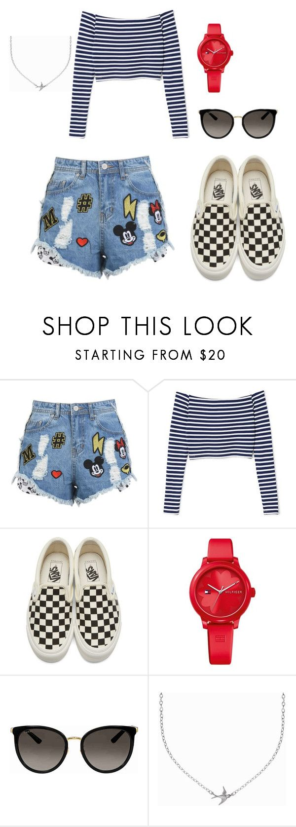 """Descontraído"" by jessicatrindadesfs on Polyvore featuring moda, Disney Stars Studios, Vans, Tommy Hilfiger, Gucci e Minnie Grace"