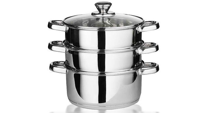 3-Piece Stainless Steel Pan Set Make cooking a breeze with the 3-Piece Stainless Steel Pan Set Set includes 1 x 18cm casserole and 2 x 18cm steamer pans with lids Perfect for fulfilling all your catering needs Stainless steel finish gives your kitchen a modern touch Suitable for both gas and electric hobs 0.5mm body thickness 1.5mm aluminum capsulated bottom ...