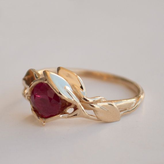 Leaves Engagement Ring - 14K Gold and Ruby engagement ring, engagement ring, leaf ring, filigree, antique, art nouveau, vintage