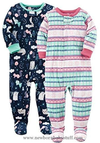 31ad94ef5ea0 Baby Girl Clothes Carter s Girls  2-Pack Fleece Pajama Set (Stripe ...