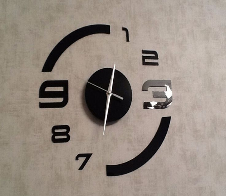 diy art horloge mural home d cor design moderne miroir. Black Bedroom Furniture Sets. Home Design Ideas