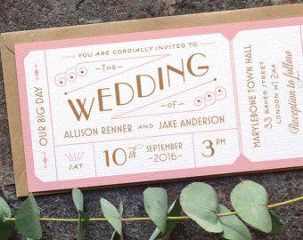 Formal Admission Ticket Wedding Invitation / by twoforjoypaper
