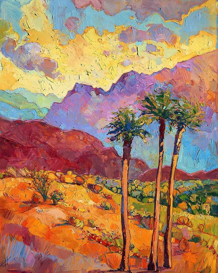 'Indian wells' by Erin Hanson US. Warm desert colors bathe the canvas bringing to life this beautiful desertscape near Palm Springs California. 'Индейские родники' работа Эрин Хансон США. Теплые цвета пустыни насыщают холст оживляя прекрасный ландшафт вблизи Палм-Спрингс Калифорния.  #иллюстрация #живопись #искусство #графика #холст #масло #арт #выставки #art #illustration #pencil #artsy #drawing #contemporaryart #draw #oil #sketchbook #graphic #exhibitions #timetoart