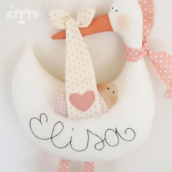 Stork softie newborn decoration - Fiocco nascita cicogna - customisable name…