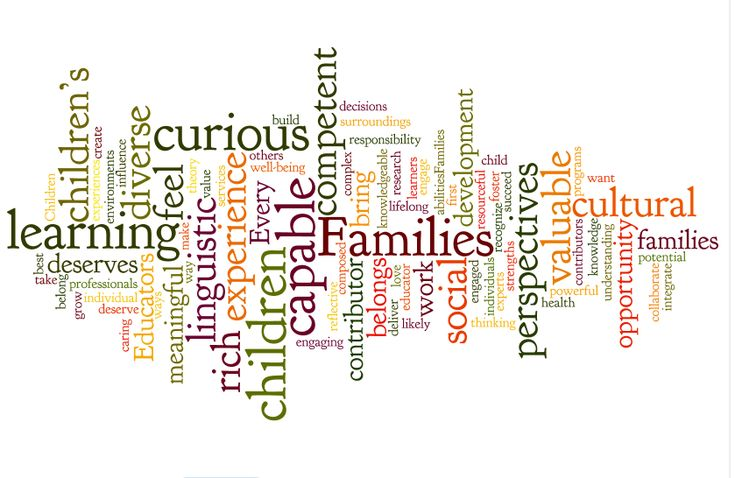 The image of children, families and educators from How Does Learning Happen?