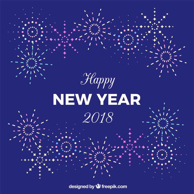 new year background in purple with fireworks free vector