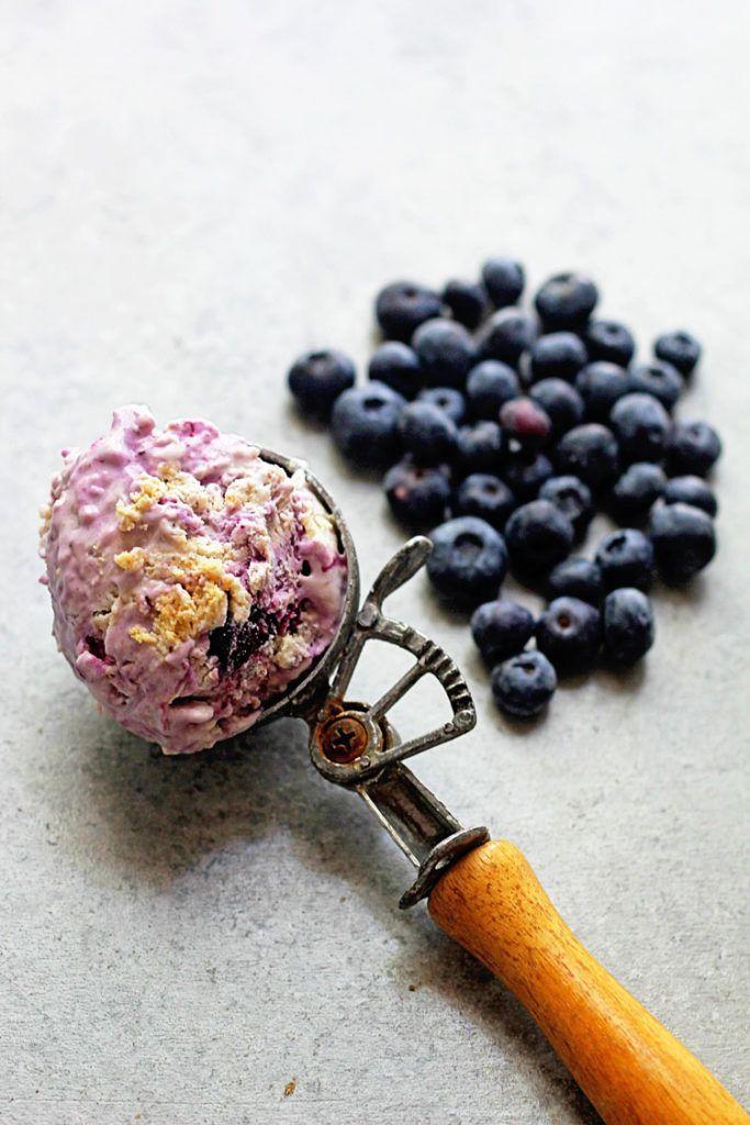 No Churn Blueberry Cheesecake Ice Cream