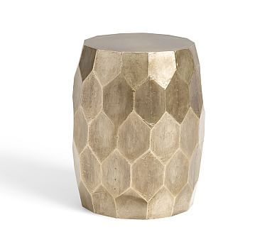 Vince Metal Foil Accent Stool, Brushed Silver