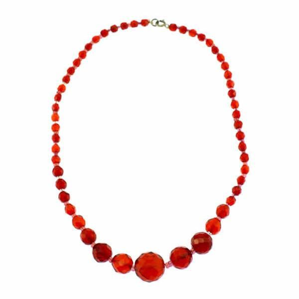 Faceted Red Czech Glass Bead Necklace