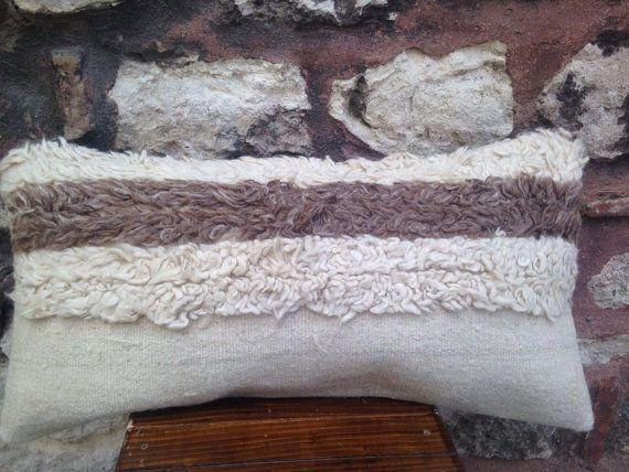 12' x 24' Handmade Karapinar Tulu Kilim Pillow Cover, 50 years old rug pillow, white brown striped furry lumbar cushion, vintage 1960s.