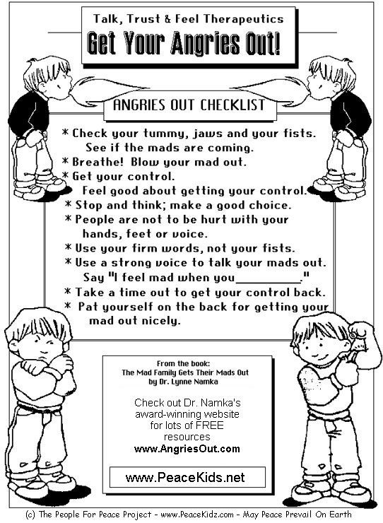 Anger management sheets for adults