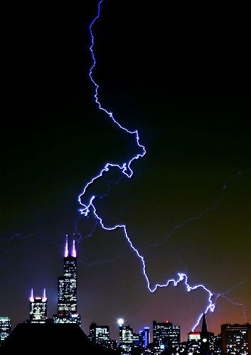 Lightning hits Sears Tower, Chicago. It will ALWAYS be the Sears Tower for me, no matter what anyone else would like to call it.