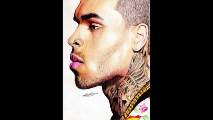 Pen Drawing Of Chris Brown Freehand