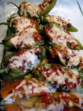 Cuban inspired chili rellenos with Anaheim peppers, use ground beef instead of chicken, or used shredded chicken.
