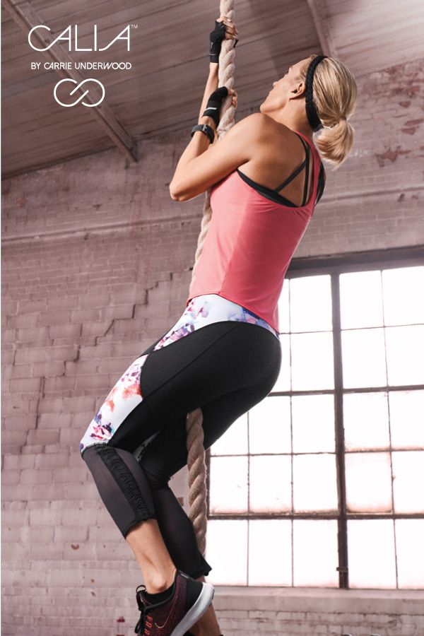 Keep climbing. CALIA by Carrie Underwood Mesh Capris, Journey Singlet, and Strappy Halter Bra