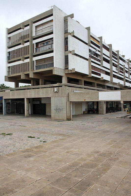 Immeuble A in Agadir, Morocco by Henri Tastemain. Post-corbusian architecture after the 1960 Agadir earthquake.