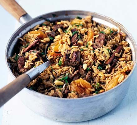 Serve up a basmati rice one pot flavoured with cinnamon, mint and apricot, studded with tender lamb
