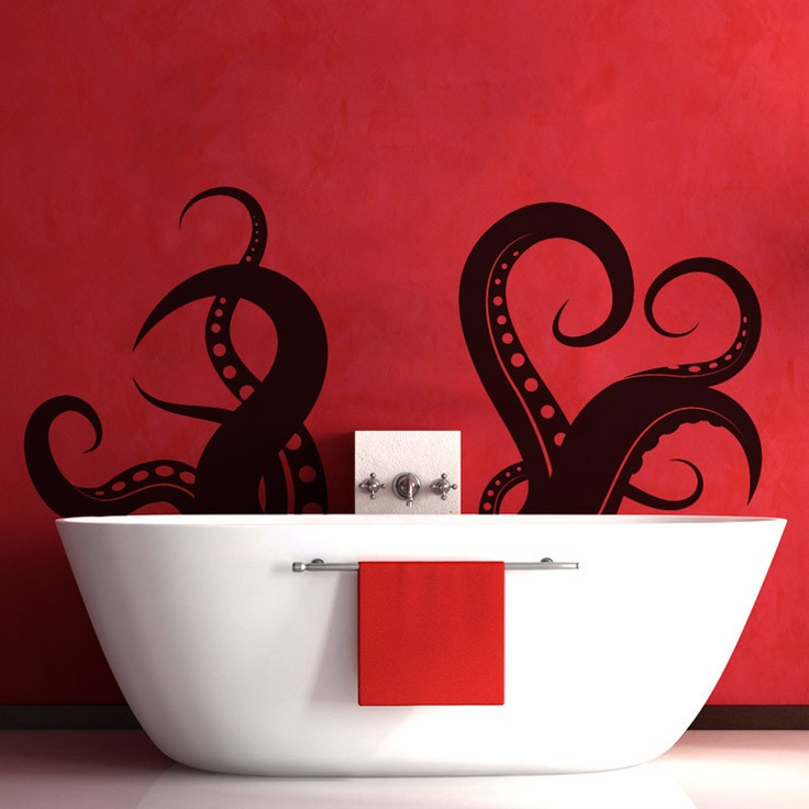 Don't forget the bathroom! Add some underwater adventure to your bath with Peel & Stick octopus tentacles http://www.posterjack.ca/peelnstick.php