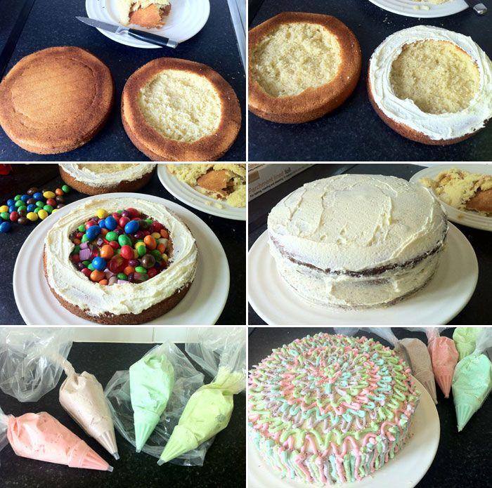 Que tarta tan divertida! Las tartas-piñata parece que se están poniendo muy de moda y la verdad es que son ideales para fiestas infantiles. Para esconder los caramelos y chuches dentro de la tarta solo tienes que seguir estos sencillos pasos. Lo más importante es no rellenarla con los dulces hasta que la tarta se …