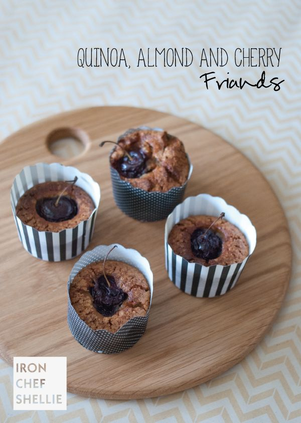 Quinoa-, almond and cherry friands.  Uses a thermomix.  Gluten free - Iron Chef Shellie