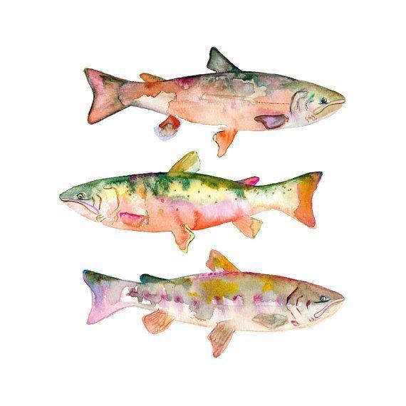 Watercolor Fish Print Colorful Fish Wall Art by SnoogsAndWilde, 28.00