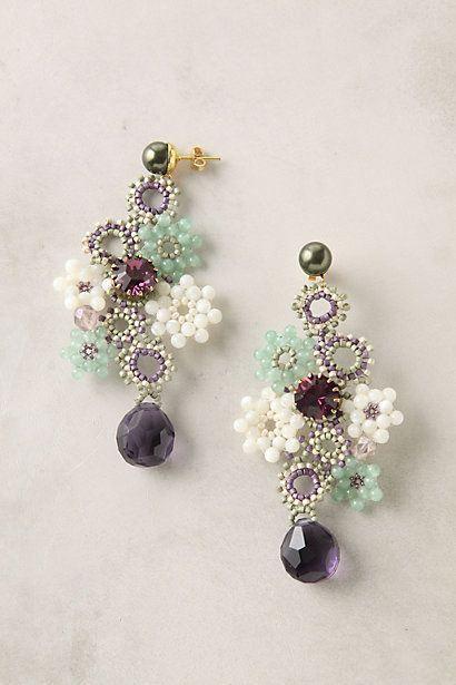 seed bead daisy chain earrings