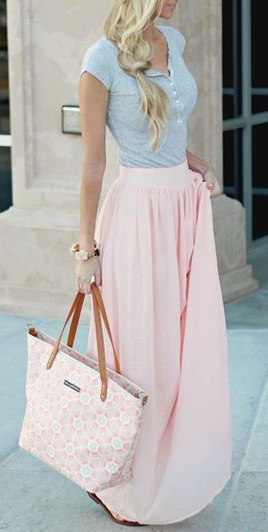 Super feminine pastel pink skirt with baby blue top. Love this look!