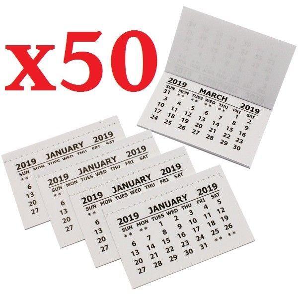 50 X 2021 Calendar Tabs Insert White Mini Calender Tear Off Pads Month To View Calender Calendar 2021 Calendar