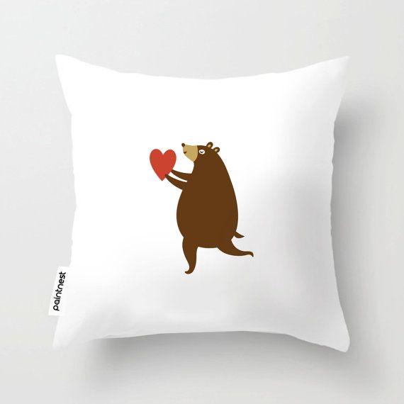 Bear with heart children pillow/Children's Throw by Thepaintnest