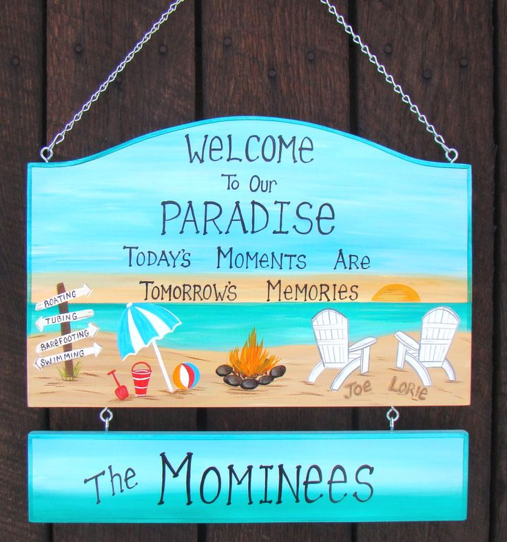 LARGE Hand Painted Custom Welcome To Our Paradise Camp Camping Backyard  Pool Yard Beach Names In Sand Summer Sign Personalized Sign By On Etsy