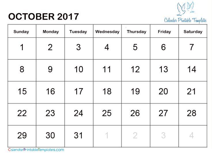 21 best October 2017 Calendar images on Pinterest Calendar - calendar template pdf