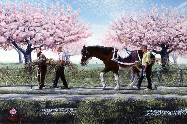 """Sunday Morning Willow Hunt""  Four generations of one of Essex County′s most beloved family, the Colasantis are shown in this print: Alex, Joe, Terry, and Candice.  Grandpa Alex is a favorite grandfather adopted into the hearts of the many visitors who come each year to Colasanti′s Tropical Gardens, owned by the Colasanti family. To visit the Colosanti′s greenhouses is to enter into the hospitality of their home."