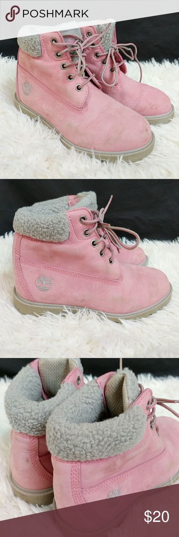 Girls Timberland Boots Great Condition Girls Timberland Fir Collared Boots Size 1.5. Pink & Grey. Timberland Shoes