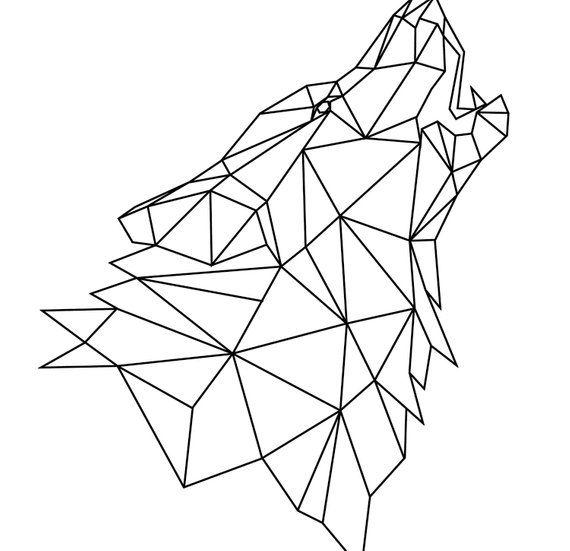 Wolf Head Model Print Digital Wolf Head Geometric Poster Scandinavian Triangles Wall Art Abstract Decor Modern origami printable file