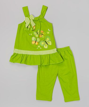 Another great find on #zulily! Lime Stripe & Butterfly Top & Shorts - Toddler & Girls #zulilyfinds