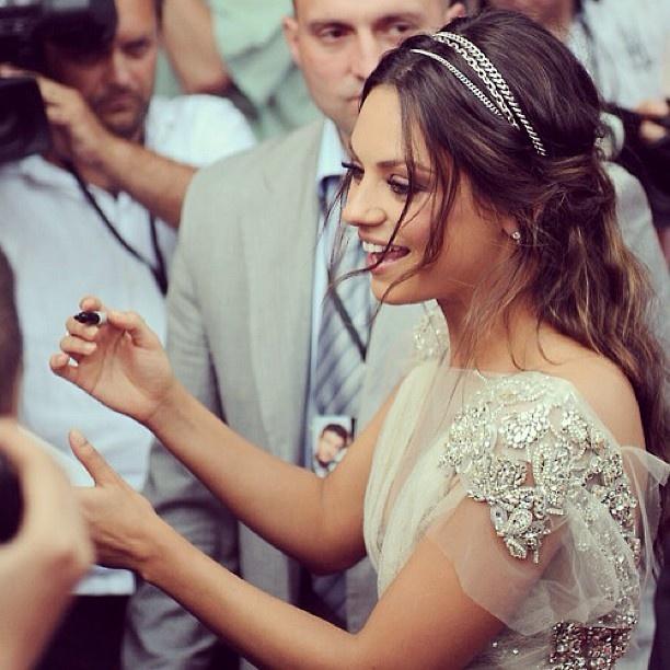 Soft half up wedding hair embellished with a 3-strand crystal head band. Mila Kunis.