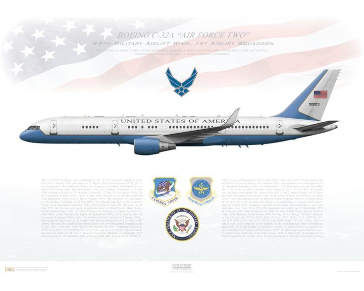 "Aircraft profile print of Boeing C-32A, 89th Airlift Wing, 1st Airlift Squadron 99-0003 ""Air Force Two"" - Profile Print in vario"