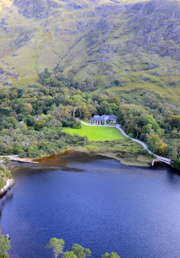 Stunning view from the air of Delphi Lodge and surrounding area