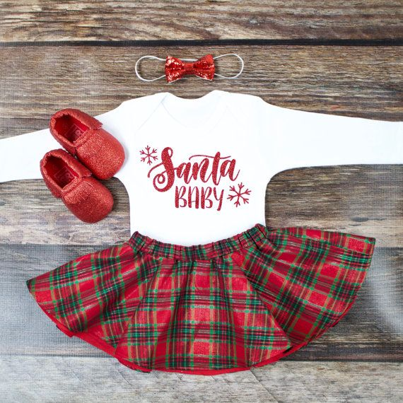 Girl's Christmas Skirt Outfit | 'Santa Baby' Top with Christmas Plaid Twirl Skirt | Complete Baby or Toddler Christmas Set