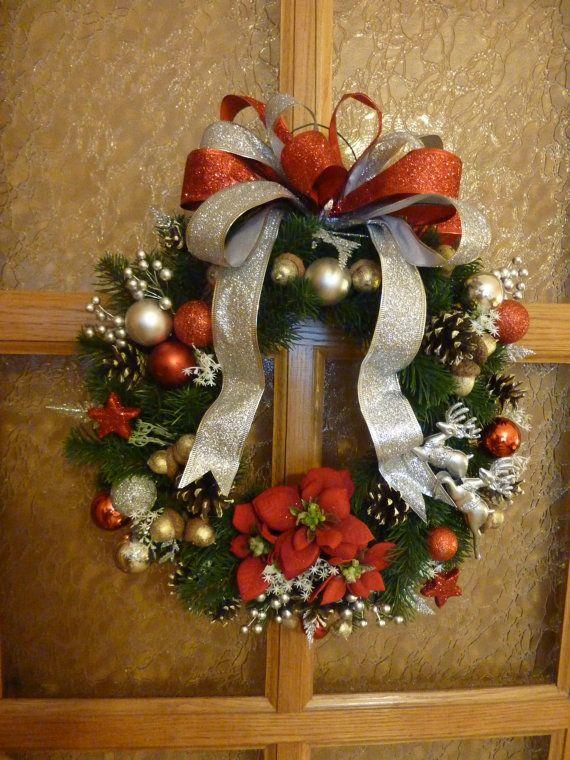 Christmas wreathpoinsettia wreathdoor by FlowerKingdomArt on Etsy