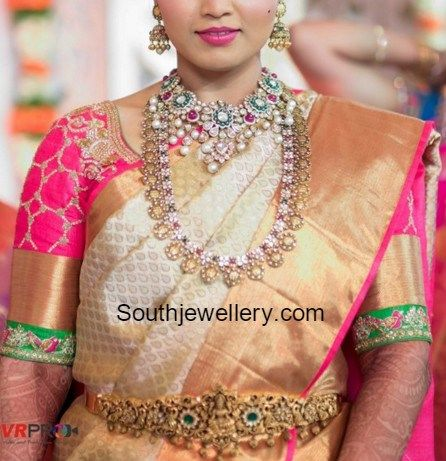 Bride in Polki Choker and Ram Parivar kasu Haram
