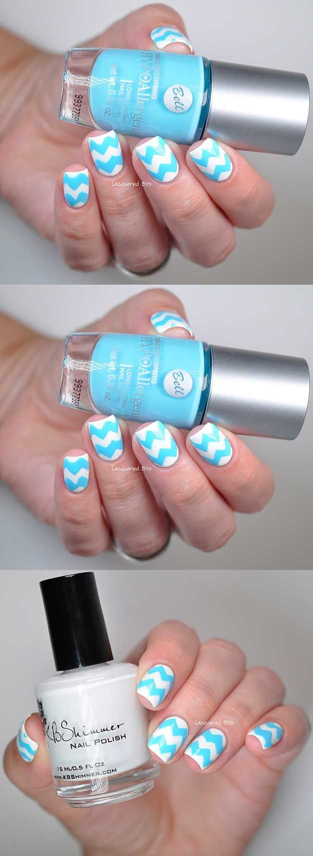 Chevron Nail Art Ideas - Blue & White Chevron Manicure - Best Chevron Nail Art Designs and Ideas On Pinterest, Chevron Nail Designs Step By Step, Chevron French Nails, Gel Nails, Chevron Tutorial For Toes, DIY Nailart For French Tips, Designs For Manicures, Negative Space Uses, and How To Do Chevron Polka Dots. Simple, Awesome, and Gorgeous Chevron Nail Art Ideas You Will Love With Amazing Colors Like Coral, Silver, And Grey. Try Chevon With Stripes For A Fun Look On Valentines Day Or For Su
