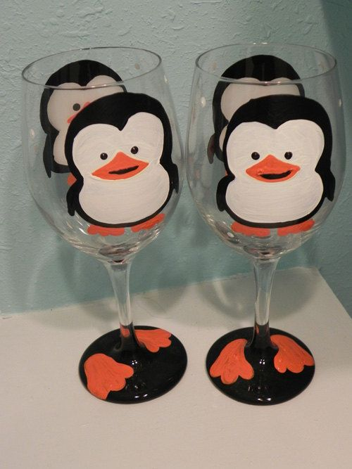 Penguin Wine Glass by classyetsassy on Etsy, $13.00 This might be the reason I start drinking wine :)