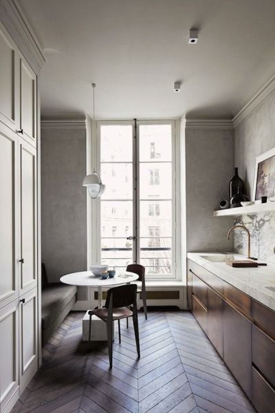 the ultimate area designed by joseph dirand we love the herringbone floor the marble countertop and the brass tapware