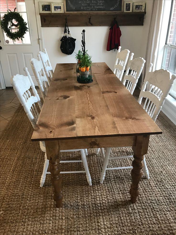 "Diy long skinny farmhouse table! 8ft long & 34"" wide. 3.5"
