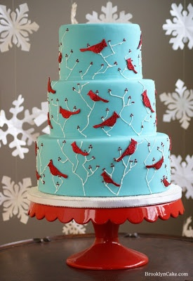 What a lovely Winter/Christmas cake with cardinals!!