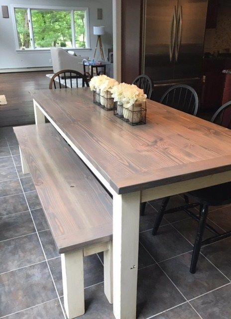 Grey And White Farmhouse Kitchen Table Bernardsville Nj