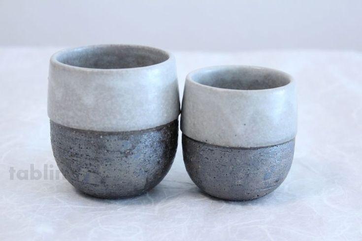 Shigaraki pottery Japanese tea cups irori yunomi set of 2 ...
