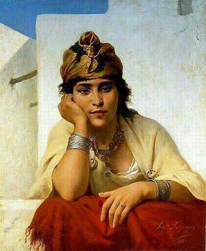 Peinture d'Algérie - Peintre Français , Hippolyte Lazerges (1817-1887), Huile sur toile 1883, Titre : Rêverie - Source : musée d'art et d'histoire de Narbonne.
