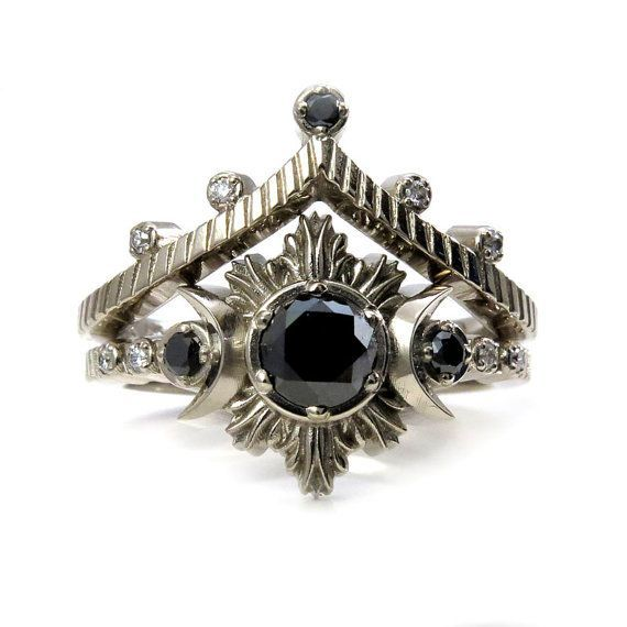 Night Sky Moon and Star Engagement Ring Set  Gothic Modern
